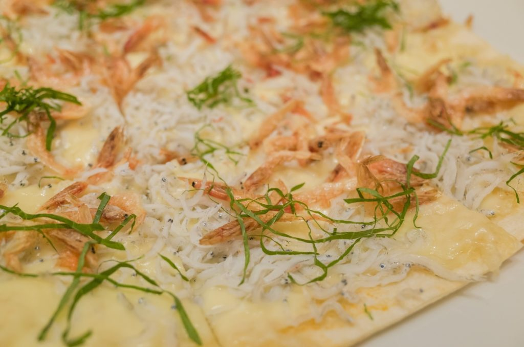Speical sakura shrimp grill pizza