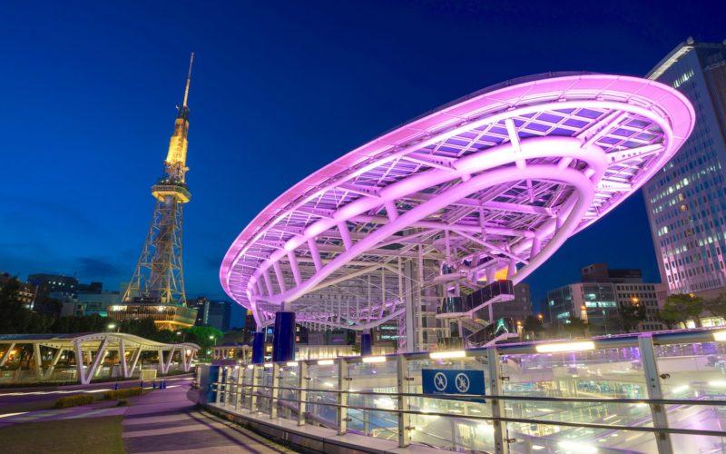 Japan cityscape at oasis21 and Nagoya Tower at night