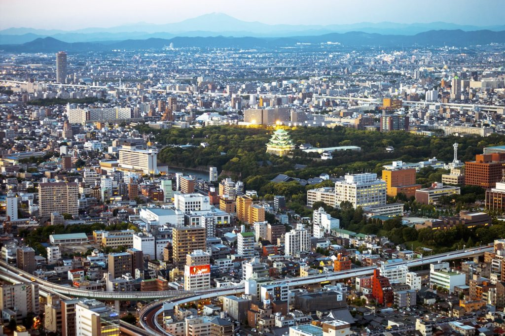The Nagoya cityscape is graced by Nagoya Castle.