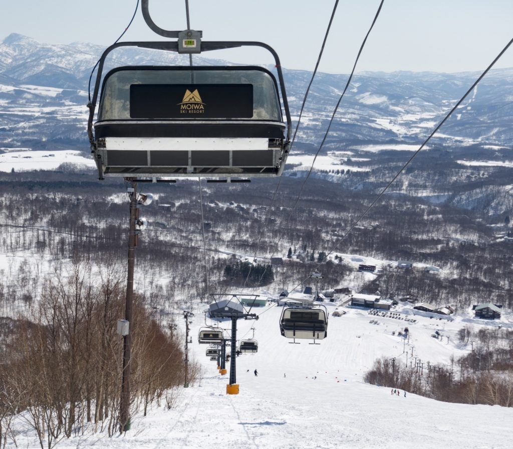 Moiwa ski area chairlifts.