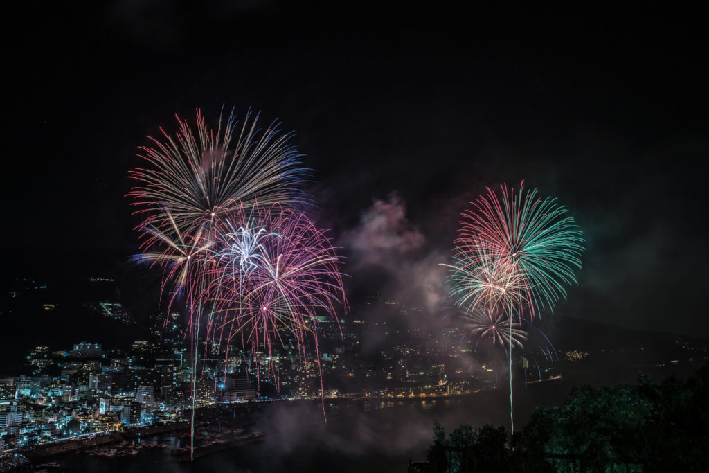 Summer fireworks in Atami, Shizuoka
