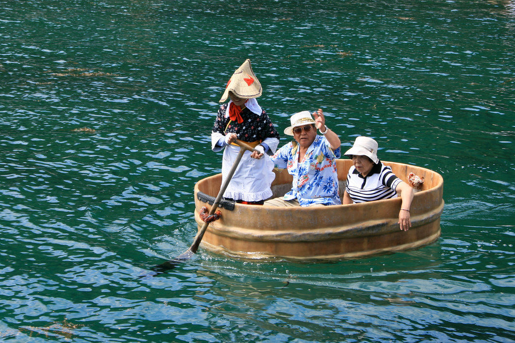 Washtub boat ride during the Sado Island Earth Celebration in Niigata.