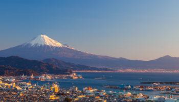Mountain Fuji and Shimizu City in Shizuoka, Japan.