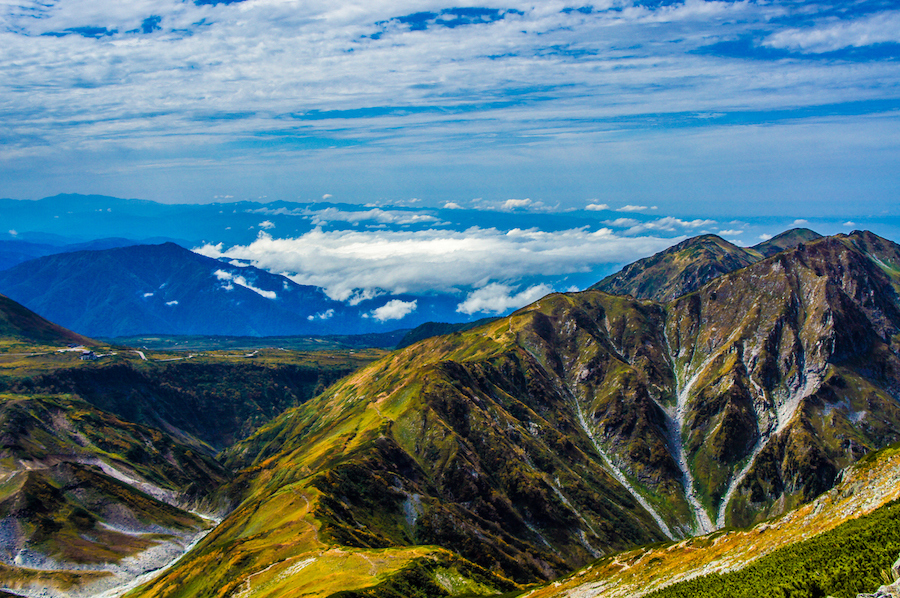 Tateyama Alpine Hiking route in the Northern Japan Alps