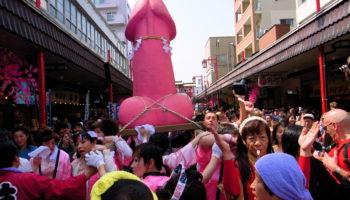 Kanamara Penis Festival in Kawasaki, Kanagawa Prefecture.