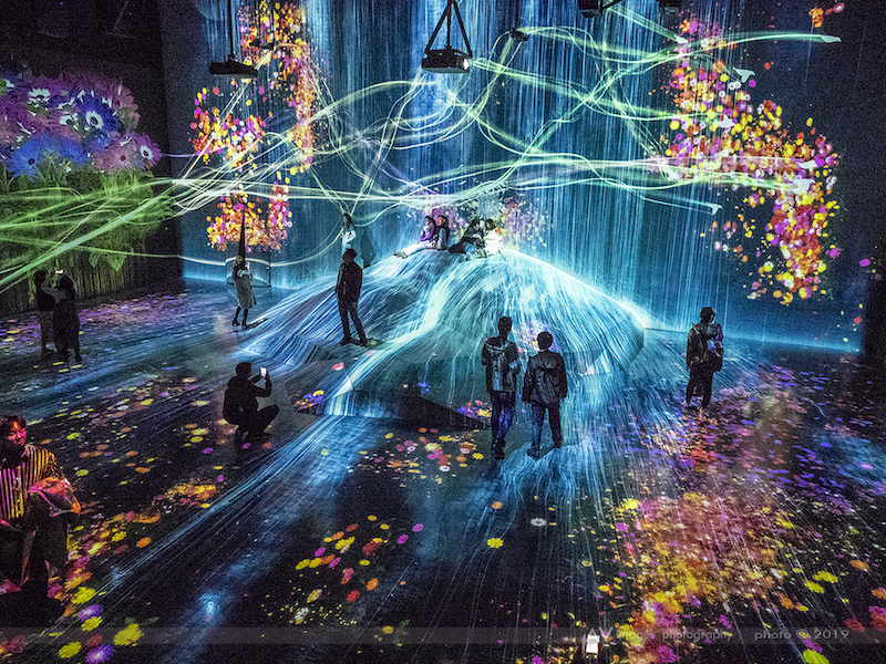 A shower of colors at teamLab Borderless in Odaiba, Tokyo.