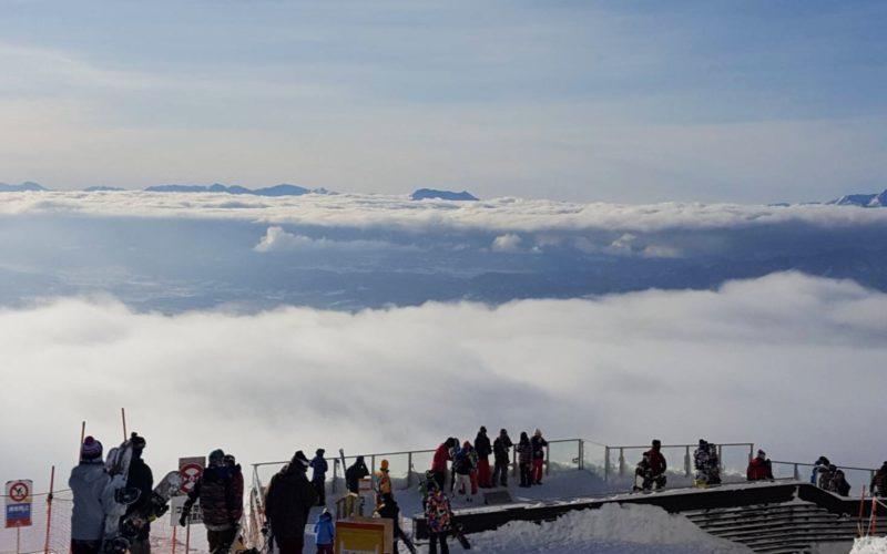 Skiers on the Sora Terrace at Ryuoo Ski Park Kita Shiga Kogen