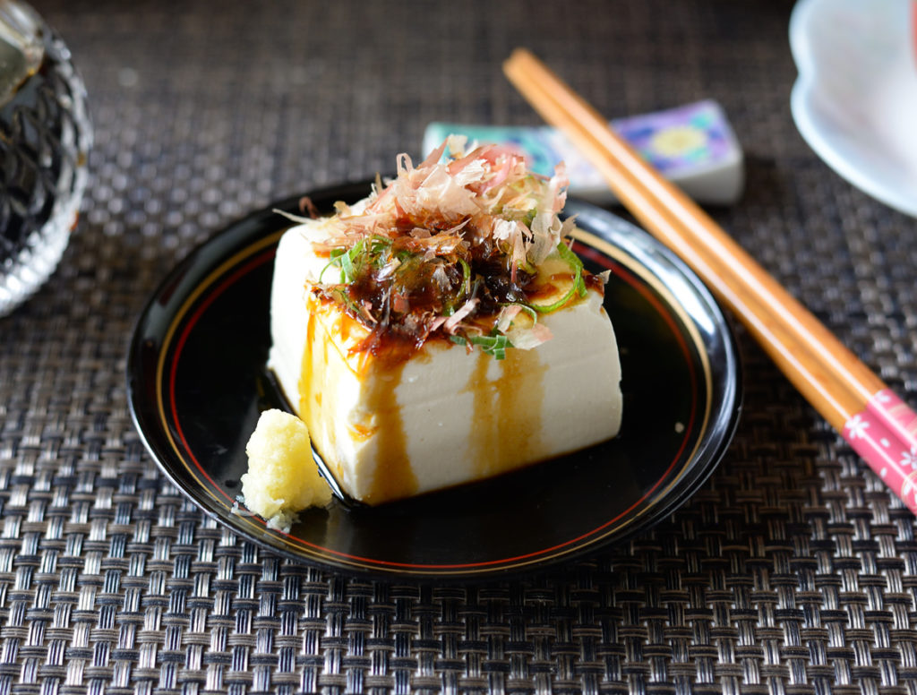 Hiyayakko is a Japanese tofu dish but it's not vegan.