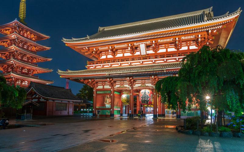 Senso-ji temple in Tokyo at night