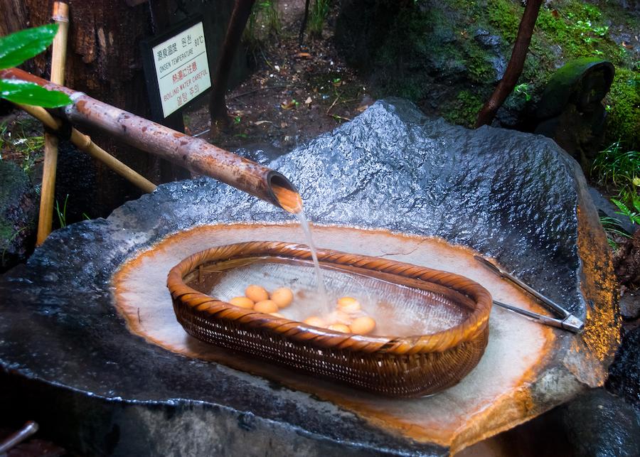 Onsen Boiled Eggs at Kurokawa Onsen in Kumamoto Japan