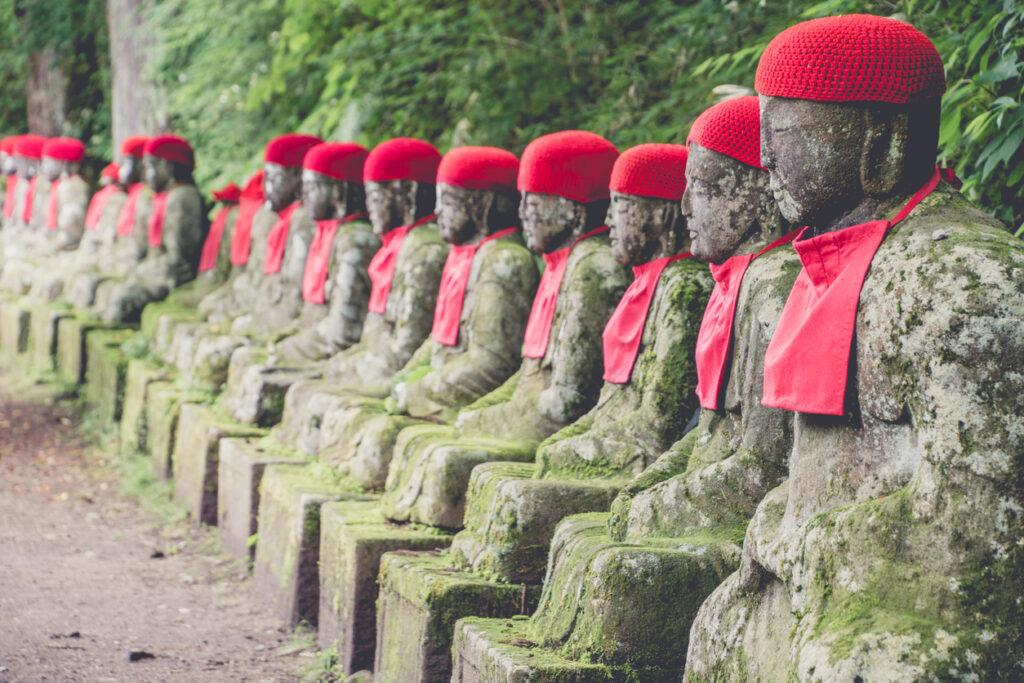 The stone Jizo statues of the Kanmangafuchi Abyss.