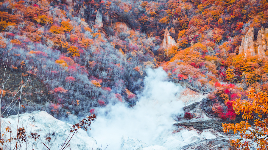 Autumn season at noboribetsu and jigokudani volcano onsen in Sapporo Hokkaido Japan