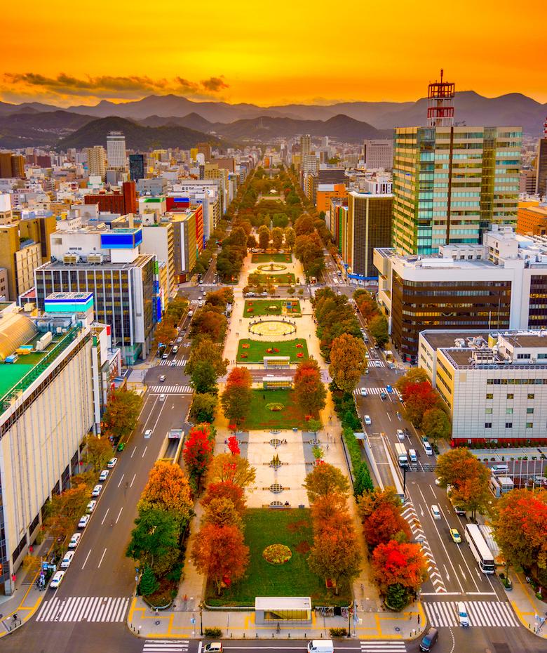 Odori Park Autumn leaves Sapporo Hokkaido Japan