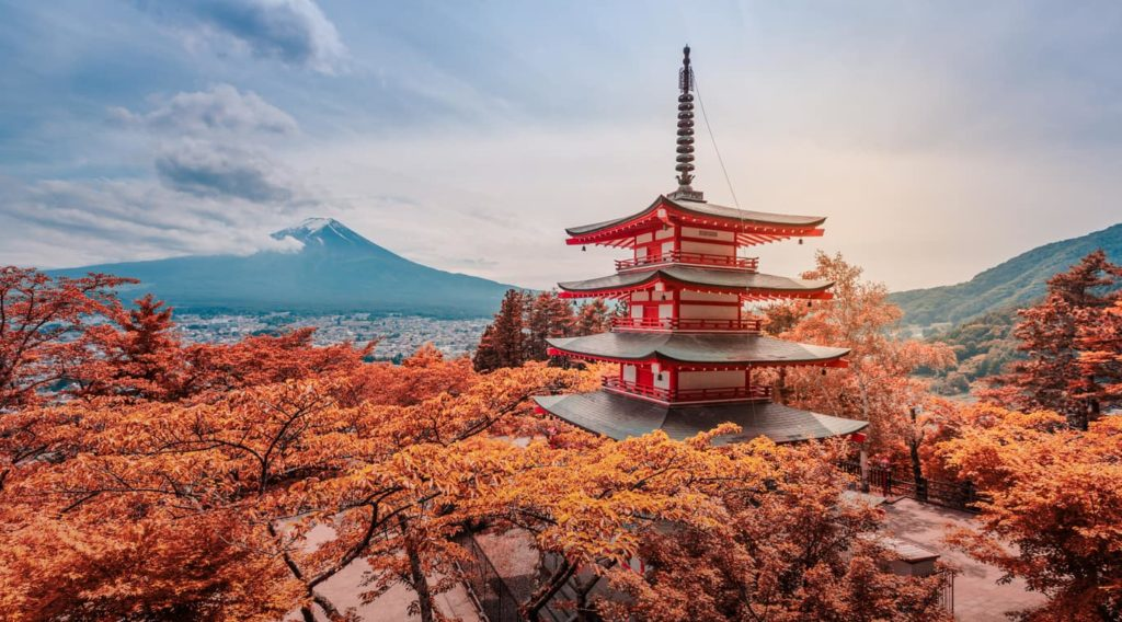 Chureito Pagoda in Japan in Autumn