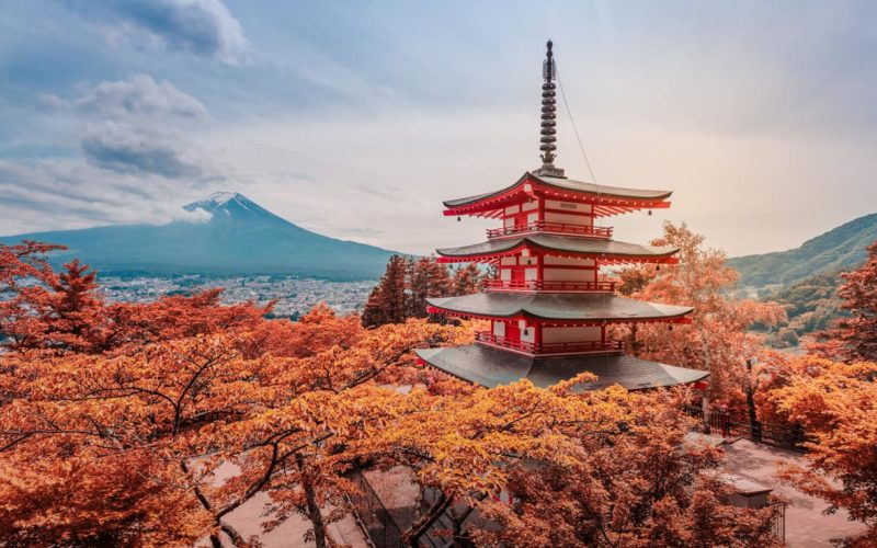 Chureito Pagoda in Japan in Autumn