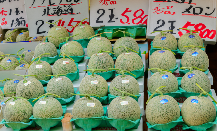 Hokkaido Yubari King Melon at the Hakodate Market Japan