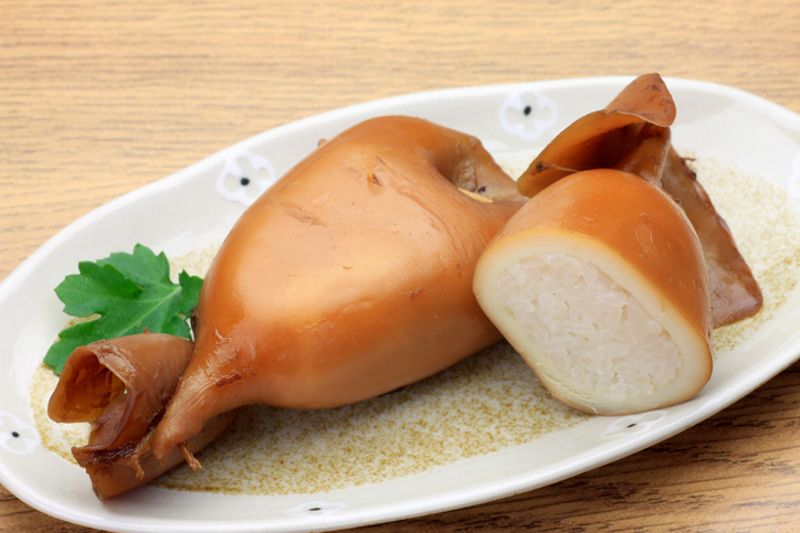 Ikameshi, or grilled squid stuffed with rice, is a popular seafood dish in Hokkaido Japan