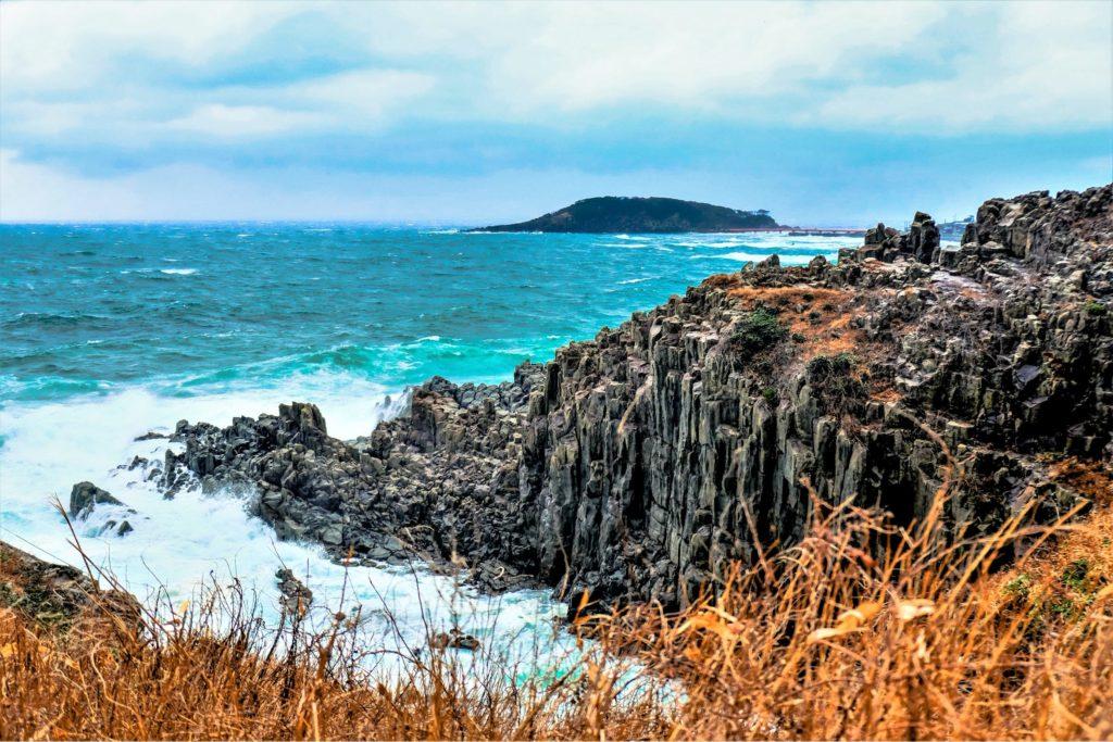 The Tojinbo Cliffs in Fukui, Japan.