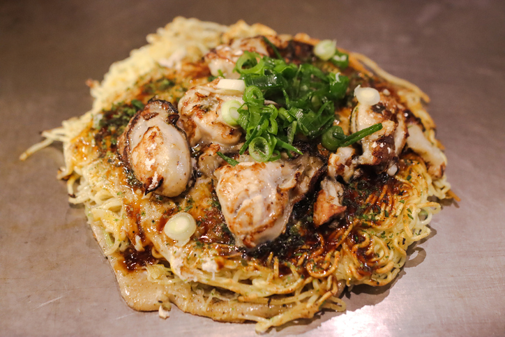 Hiroshima style Okonomiyaki is a famous food in Japan