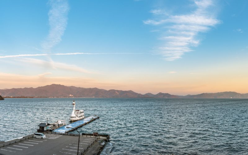 Evening scenery of Lake Inawashiro in Fukushima, Japan