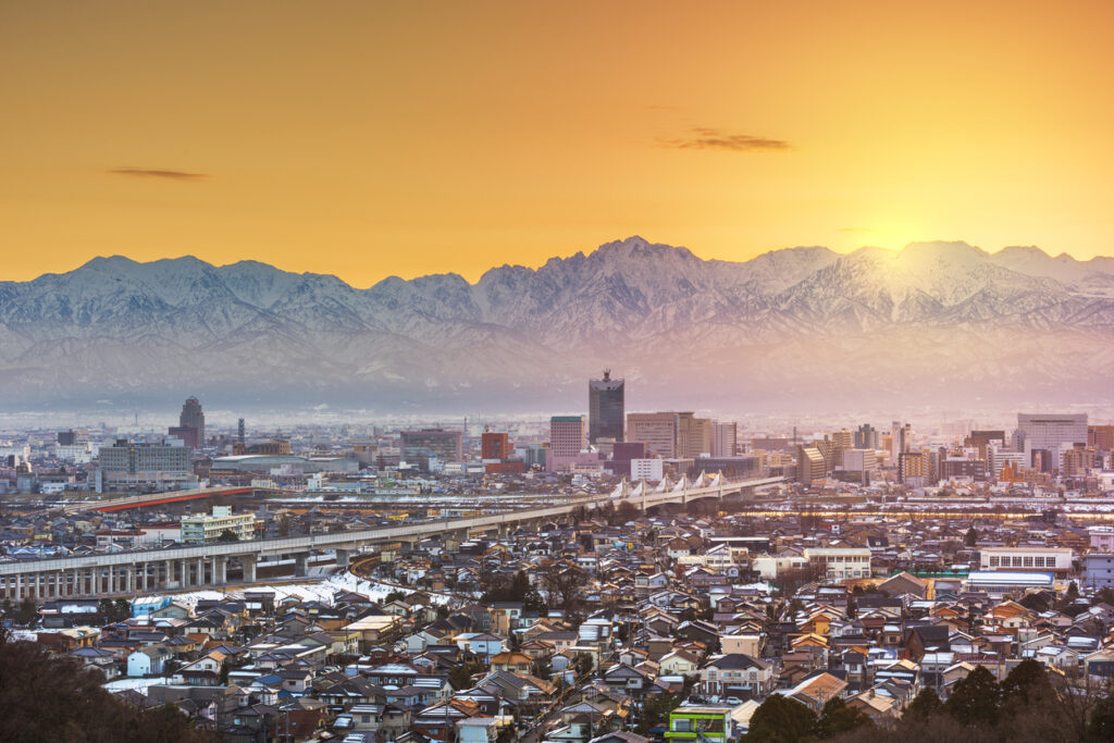Toyama, Japan Skyline with Tateyama Mountain